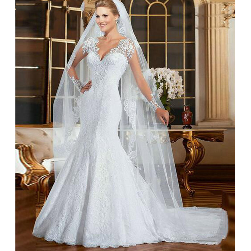 Vestido De Noiva Cheap Long Sleeve Lace Mermaid Wedding Dress 2019 Sexy See Through Back Wedding