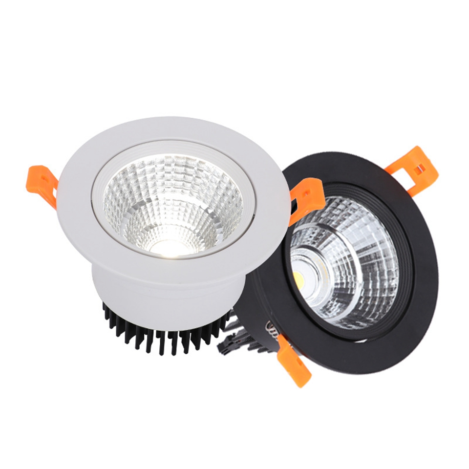 GD 10pcs 5W 10W 12W 15W 24W LED Downlight COB AC220V Dimmable Ceiling Spot Lighting Anle Adjustable Home Decor + Driver
