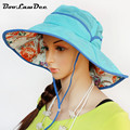 BooLawDee Sunscreen manufacturers wholesale large brimmed hat UV sun hat print breathable quick-drying cap free size 4F211