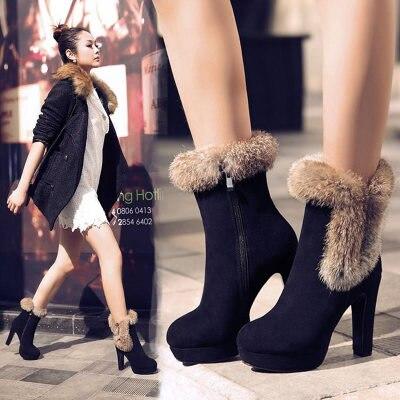 ФОТО Woman Rabbit Fur Boots Platform High Heel Boots Genuine Leather Shoes Winter Warm Short Boot H4970