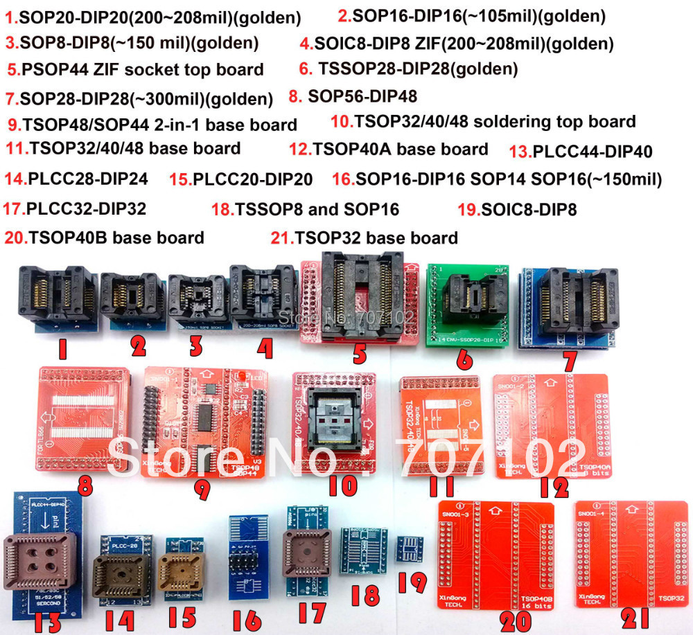 21 pcs Universal adapters kits for font b programmer b font for TL866A TL866cs adapter