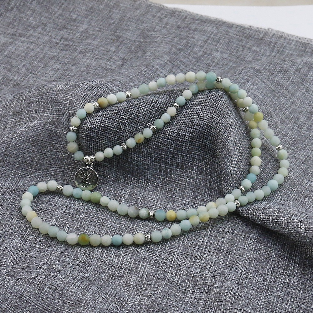 6mm Frosted Amazonite Mala 2