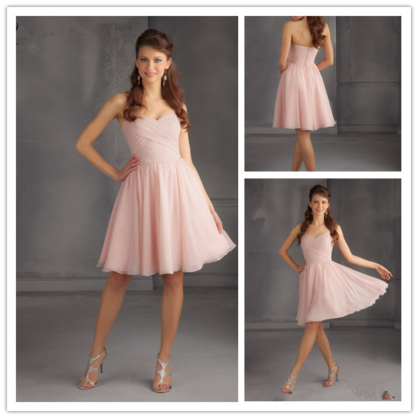 Chiffon Dress Knee Length Sweetheart Neck Sleeveless 2015 Bridesmaid Dresses Light Pink