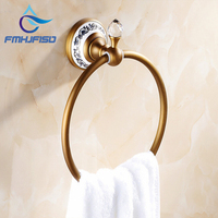 Free Shipping Wholesale And Retail Promotion Crystal Bathroom Towel Rack Holder Antique Brass Ceramic Base Towel