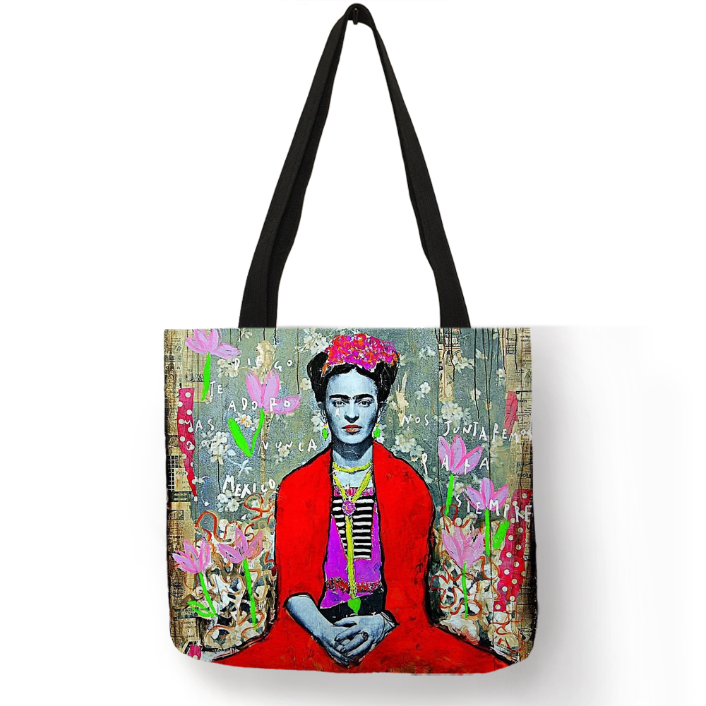 Dropshipping Personalized Artist Painter Tote Bag Linen Bag With Print Women Fashion Handbag Eco Reusable Shopping Bags unique customize tote bag eco linen bags with audrey hepburn print reusable shopping bags fashion handbag totes for women