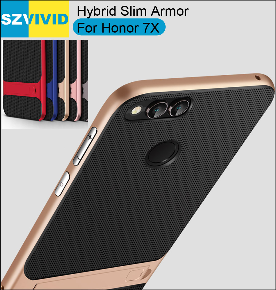 Stand Holder Kickstand Case For Huawei Honor 7X Hybrid Slim Armor Protector Clear Transparent Cover
