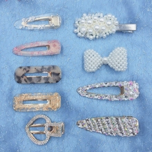9 Pcs/set Korea Stytle Pearl Hair Clip Crystal Rhinestone Bowknot Clamp Hairpin Acrylic Hollow Waterdrop Accessories