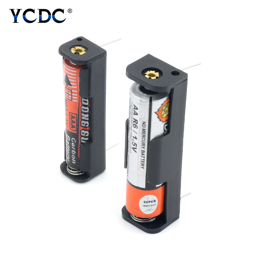 New ABS Plastic AAA AA Battery Storage Case Box Holder 1 Slot Container With Long Pin For 1x AAA 1x AA Rechargeable Batteries