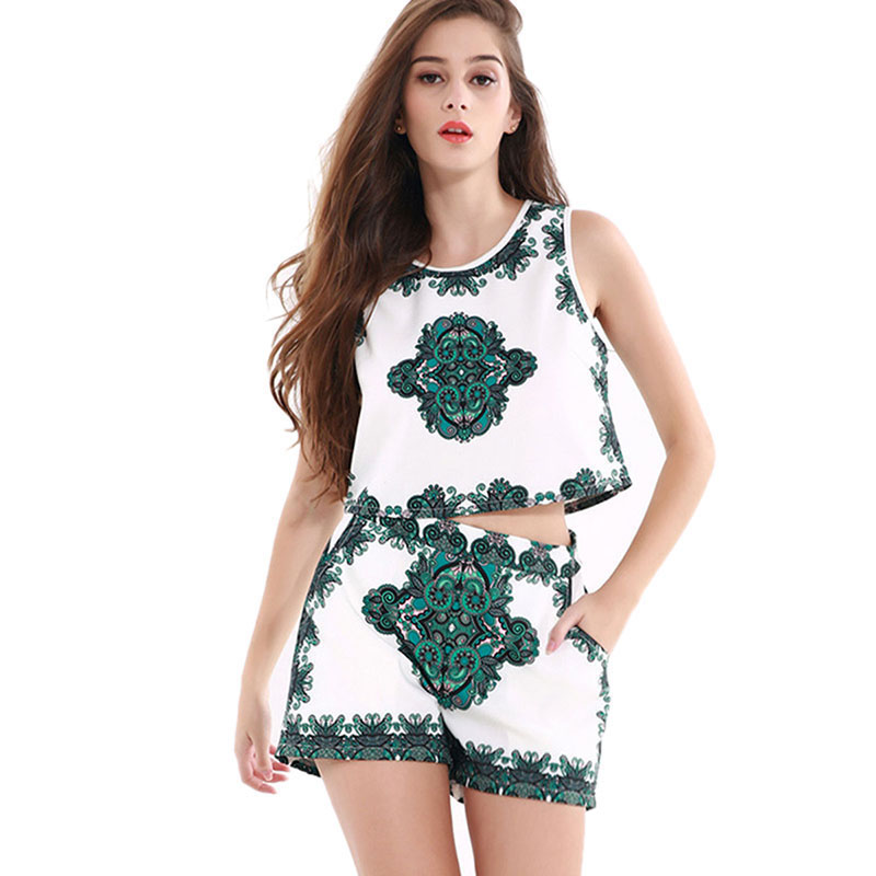 Summer Girls Clothing Set Women Vest Shorts Wide Legs Trousers Sleeveless Round Neck Pullover Tops Floral Print Vest