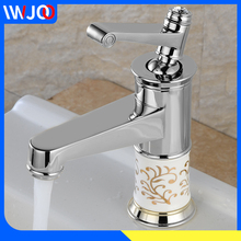Modern Bathroom Basin Faucet Gold Ceramic Brass Sink Faucet Chrome Polished Hot and Cold Water Sink Mixer Tap Single Handle contemporary simple delicate bathroom faucet chrome polished wall mounted single handle hot cold water eminent bathroom faucet