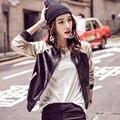 Женщины Varsity Свитер Куртка Бейсбол Пальто Искусственной Кожи одежда