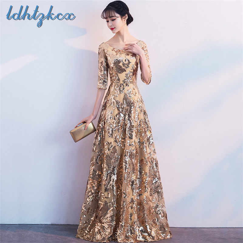 e5c9019c3e Party Dress Women Golden Plus Size Floor-Length Winter Dresses 2018 Autumn  New Print Beading