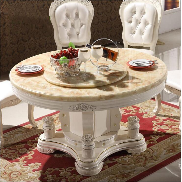 Modern Style Italian Dining Table, 100% Solid Wood Italy Style Luxury round Dining Table set o1102