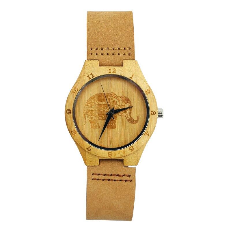 Mandala Bohemian Style Wooden Women Watches Exquisite Thailand Elephant Engraving Bamboo Quartz Wristwatch Man's Women's Clock