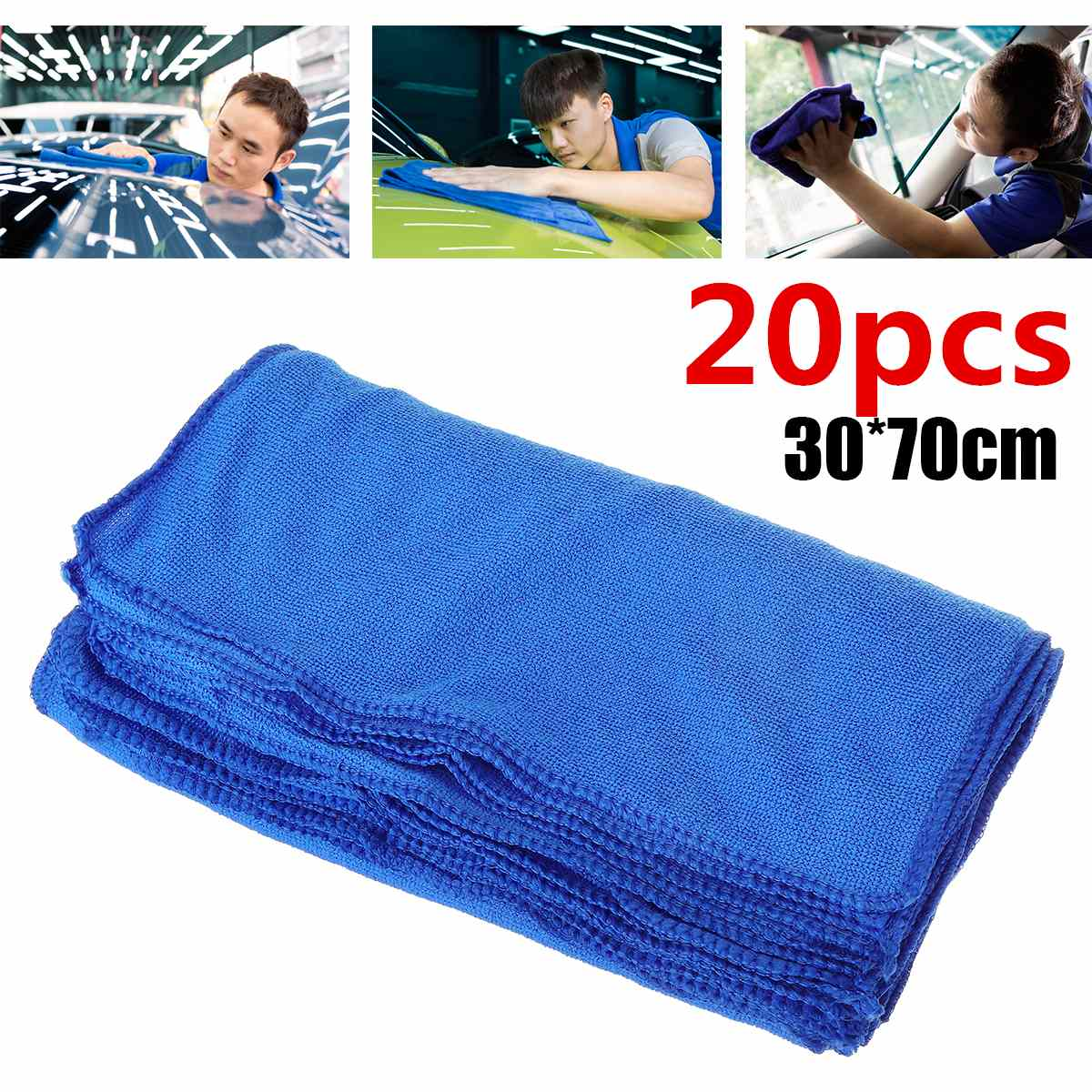 20pcs 30x70cm Cleaning Towel Microfiber Cloth No-Scratch Car Polishing Detailing Car Washer Kitchen Wash Absorbent Cloths