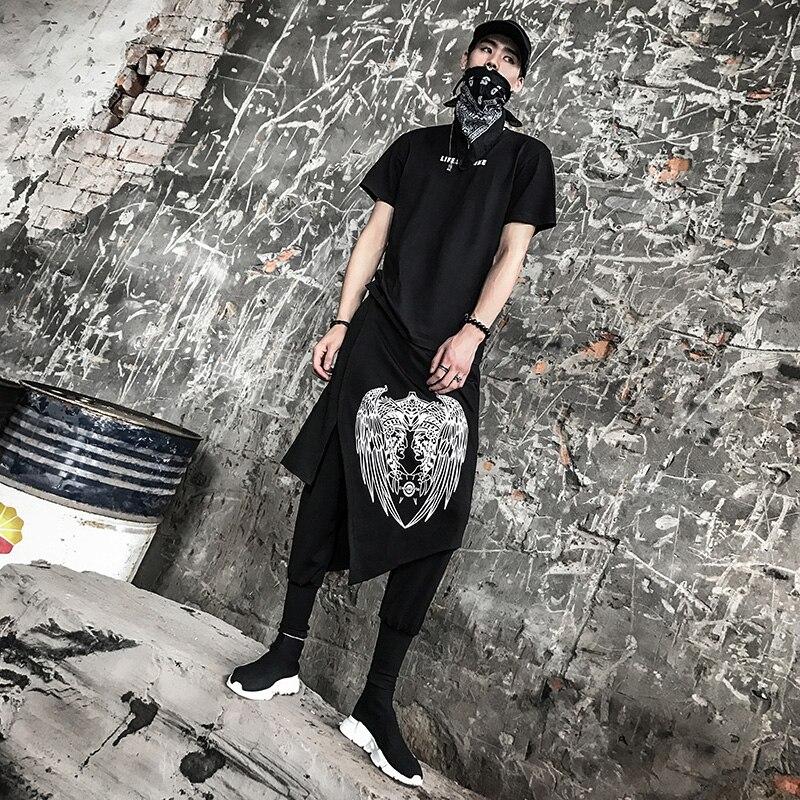 Men High Street Hip Hop Dancer Harem Pant 2 Pieces Splice Male Fashion Casual Punk Cross Pants Ankle Length Trousers