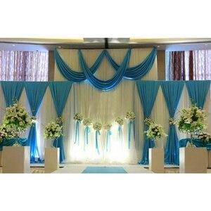 Image 2 - 1 סט רקע שלב וילון פנינה קרח משי בד וילונות DIY כיסוי רעלה לחתונה מסיבת מכירה לוהטת