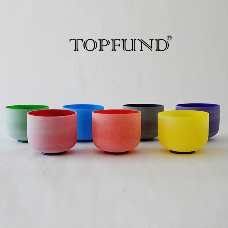 TOPFUND 432 Hz Tuned Chakra Set of 7pcs Colored Frosted Quartz Crystal Singing Bowls 8-10 topfund perfect pitch tuned chakra set of 7pcs colored frosted crystal singing bowls all 10
