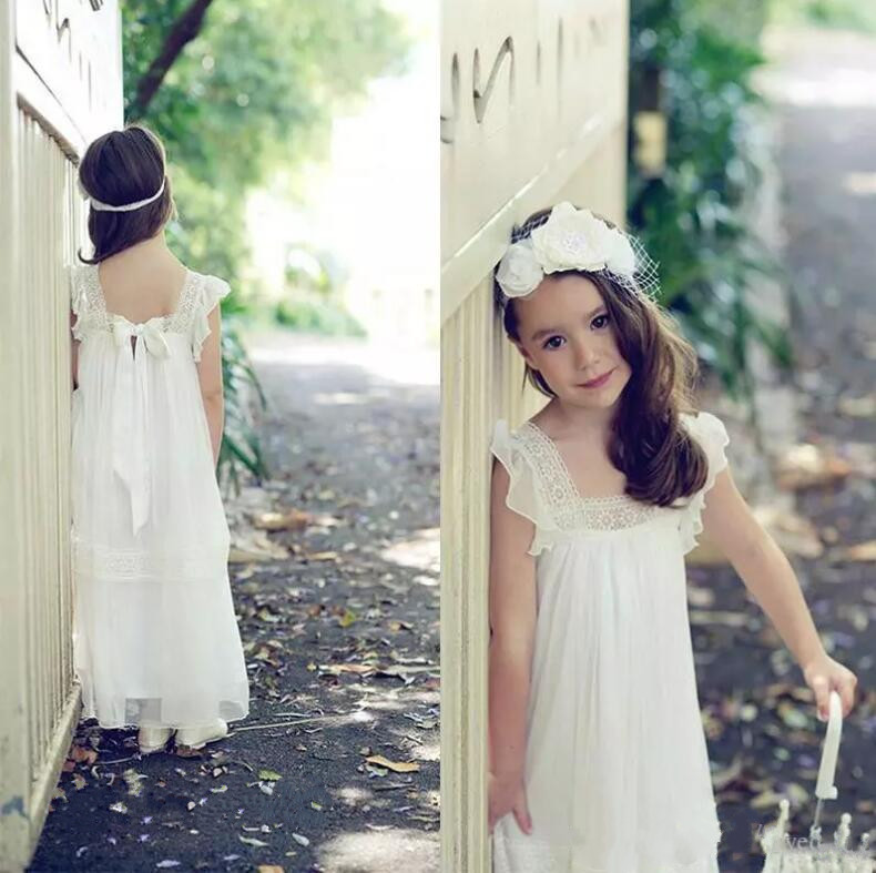 Princess 2017 Pretty Little Flower Girl Dress For Boho Wedding White Ivory Chiffon Any Size CUSTOM MADE