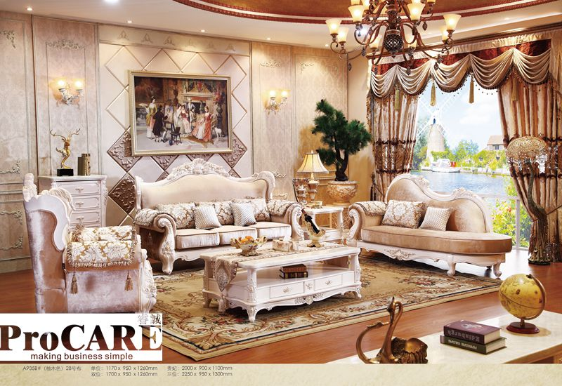 Italian Blue Fabric Sofa Sets Living Room Furniture Antique Style Wooden Baroque From Foshan Market