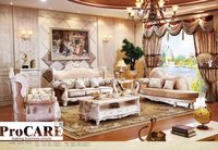 italian blue fabric sofa sets living room furniture,antique style wooden sofa baroque furniture from Foshan market