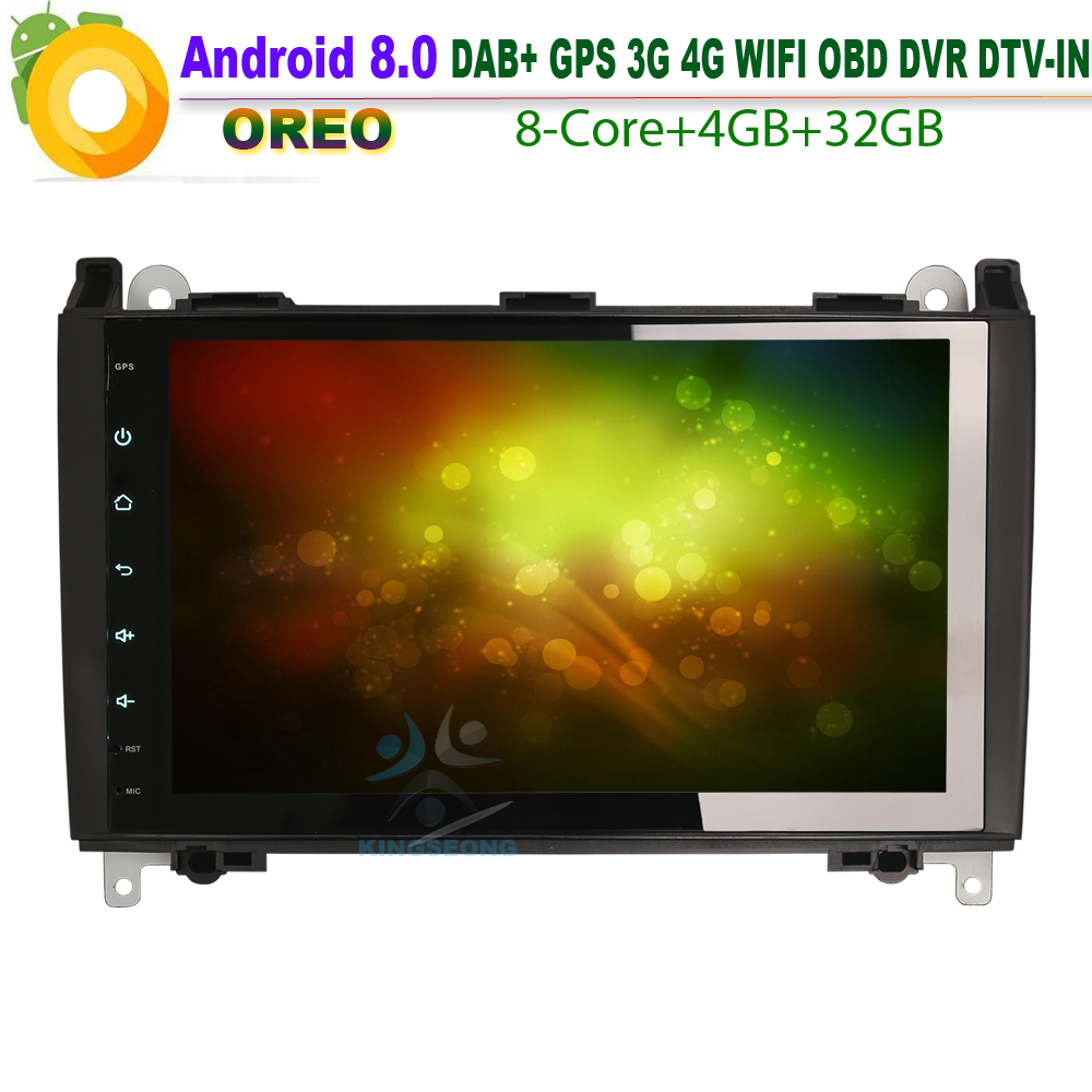 9Android 8.0 Autoradio Navi DAB+TMPS 4G WiFi Radio RDS BT DVD Car GPS Navigation For Mercedes Classe A/B Vito Sprinter Viano