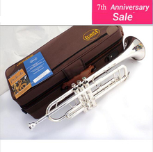 Professional French Bach Silver Plated Bach Bb Trumpet Small Brass Senior High Qulity Musical Instrument Trompeta LT-180S-43
