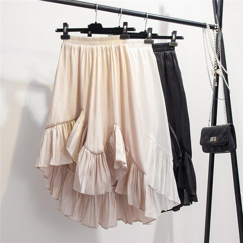 72a16cbed Nueva falda elegante de verano de 2019 para mujer, falda de raso con cola  de pez Irregular, media ...