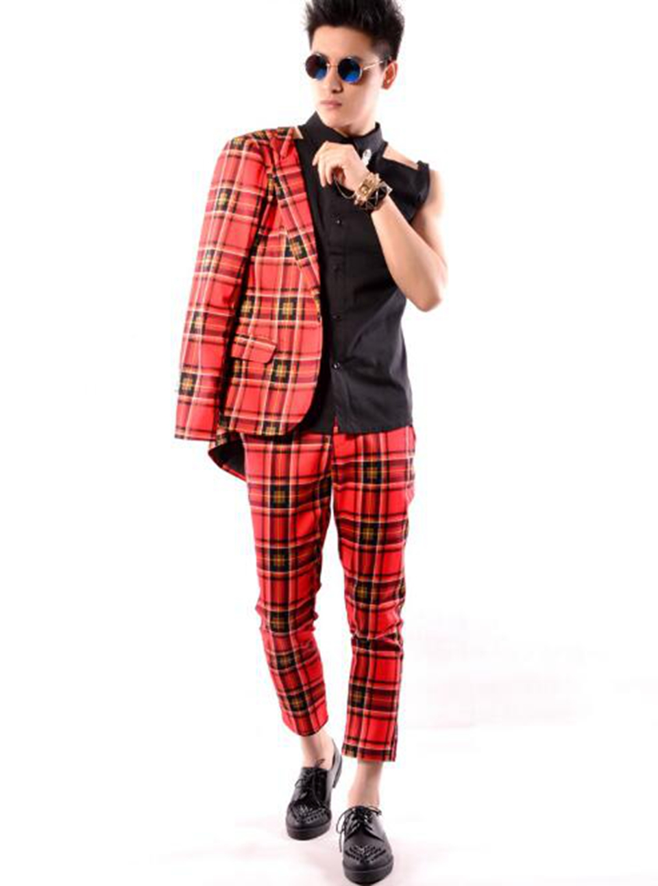Men's Korean version of fine dance costumes host hairdressing singers stage costumes red plaid nine-point trousers / M-2xL