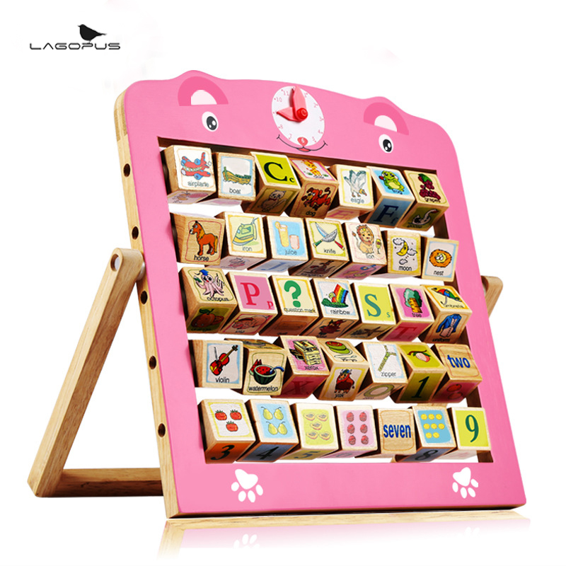 Baby Block Toys Double Faced Educational Toys Child Alphabet Teaching Frame Christmas Wooden Blocks Gift New