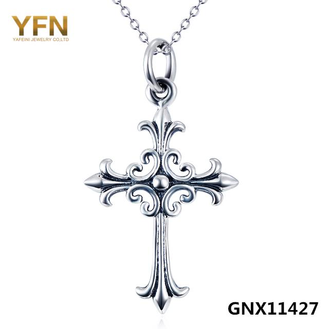 "GNX11427 Genuine 925 Sterling Silver Cross Pendant Clássico Colar de Jóias Antigas Colar de Prata 18"""