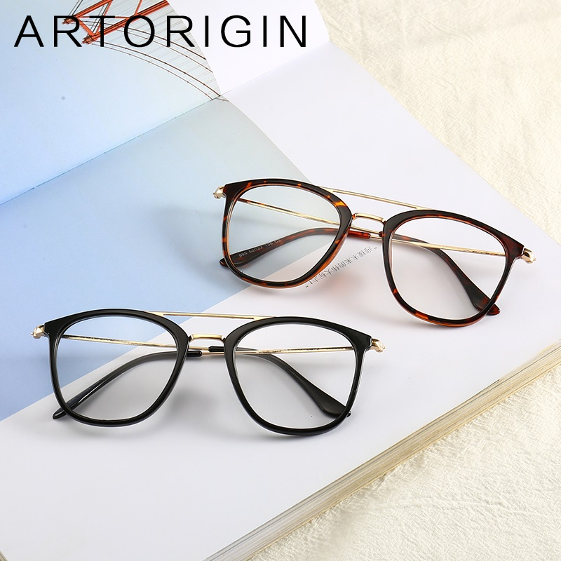 ARTORIGIN Simplify Rectangle Glasses Frame Men Double Beams Metal Eyeglasses Clear Transparent Decoration and Optical Frames