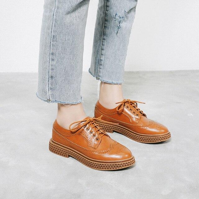 Britannique Style Femme Décontractées Plate Chaussures forme À Automne Découpes Black Oxford Printemps brown Sanmm Az26 Lacets Plat Cuir En Femmes Eaqn5w1x1