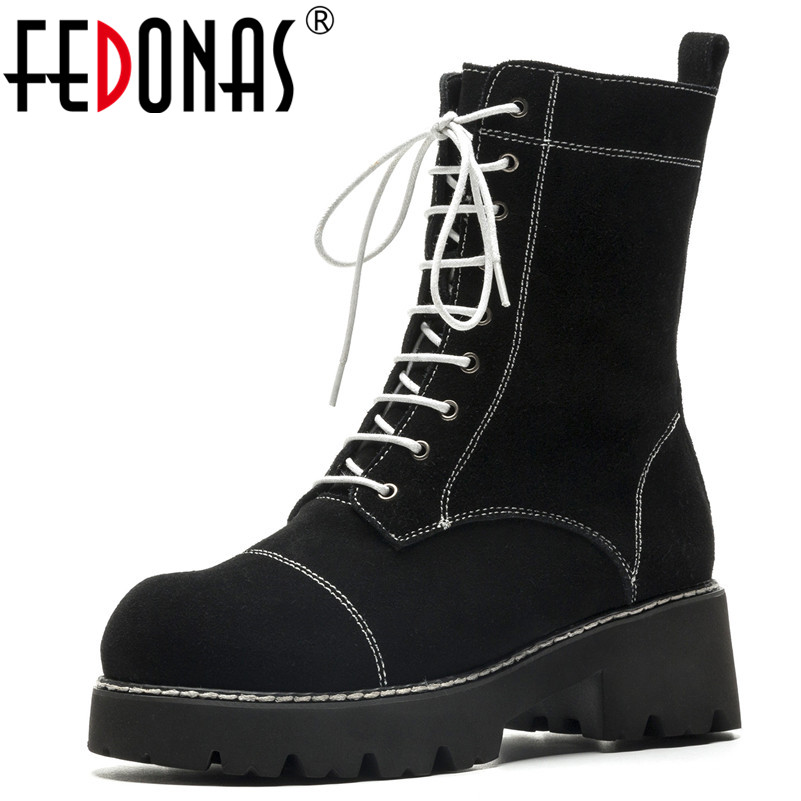 FEDONAS Black Punk Women Mid-calf Boots High Heels Lace Up Motorcycle Boots Ladies Platforms Round Toe Casual Shoes Woman fedonas lace up boots 2019 fashion thick heel mid calf boots women high heels autumn winter shoes woman platforms boots