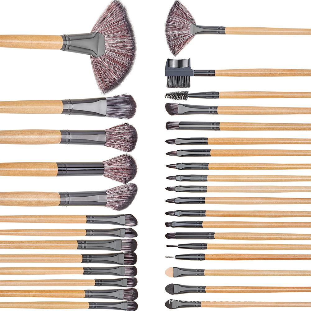 DSstyles 32 Pcs Make-Up Pinsel <font><b>Set</b></font> Kosmetische Lippe Augenbraue Foundation Pinsel Make-up Pinsel <font><b>Kit</b></font> mit PU Lagerung Tasche image