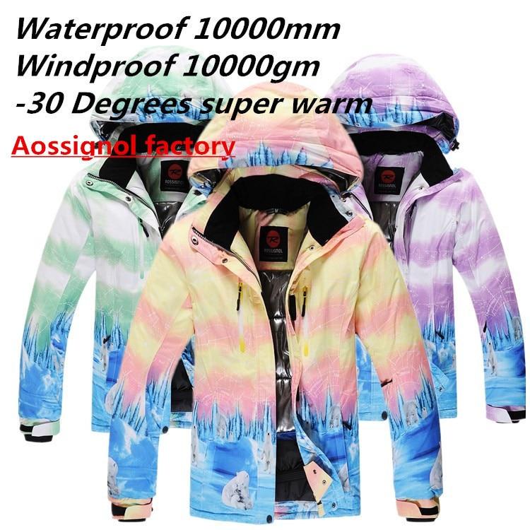 Cheap 2017 good Rossignol Ski Suit Women Snowboard Clothing Waterproof Windproof Thicken -30 Warm Winter Over Coat Snow Suit