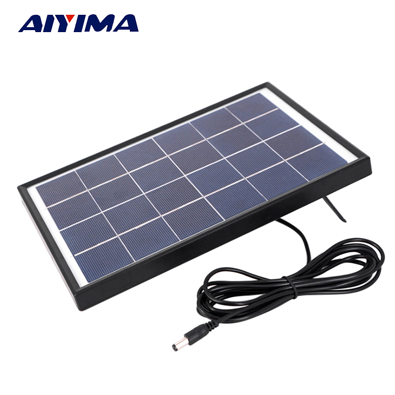 Aiyima 6V 6W PolyCrystalline Solar Cells Solar Panel Battery Charger For Caravan Boat Power Applied To DC LED lights battery