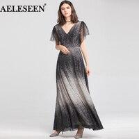 AELESEEN v образный вырез длинное роскошное платье 2018 бусины открытая спина сексуальное платье для вечерние элегантное Vestido расклешенное рукав