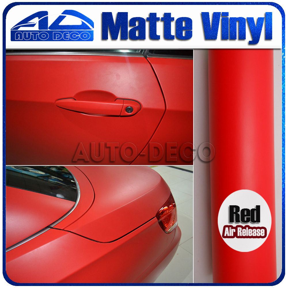 Charming Red Matte Vinyl  Car Wrap Film Stickers with air bubble free FedEx Free Shipping 30m/roll light purple matte vinyl car wrap film for car decoration sticker with air bubble free fedex free shipping