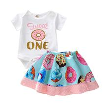 Newborn Infant Baby Girls Romper Tops Doughnut Dot Skirt Dress 2PCS Outfits Set Baby Kids Girl Summer Floral Flower Beach capsul