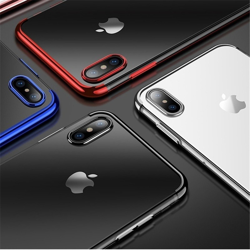 phone case for iPhone XS MAX X 7 8 6 6s 5 se Cover On For iphone XR 8 7 6 6s Plus Phone Silicone Case plating TPU clear case in Fitted Cases from Cellphones Telecommunications