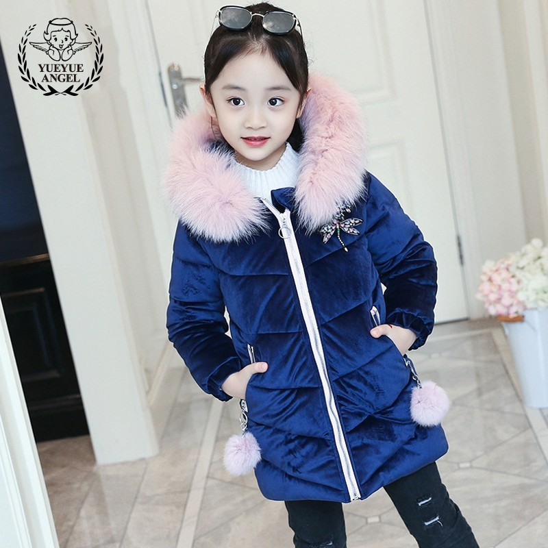 Childrens Overalls Jacket Blue Gold Velvet Baby Girl Clothes Winter Long Coat Big Fur Collar Thicken Parkas Coats Girls Overcoat new 2015 women fur collar slim long parkas fashion winter coat women thicken warm wadded overcoat woman a line jacket h6031