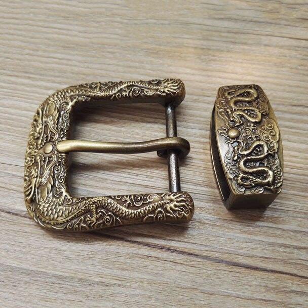 40mm antiqued dragão do vintage cobre latão sólido cinto fivela pino cinto botão laço diy leathercraft acessórios de couro