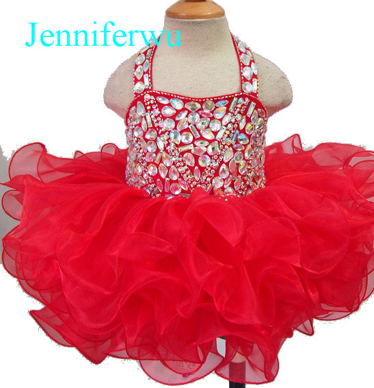 цена 15 color rhinestone crystal beaded baby girl pageant dress toddler infant newborn party dress 1T-6T G128F онлайн в 2017 году