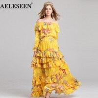 AELESEEN Runway 2 Piece Skirt Suit 2018 Auutumn Women Lantern Sleeve Slash Print Yellow Top +Cascading Ruffles Luxury Shirt Set