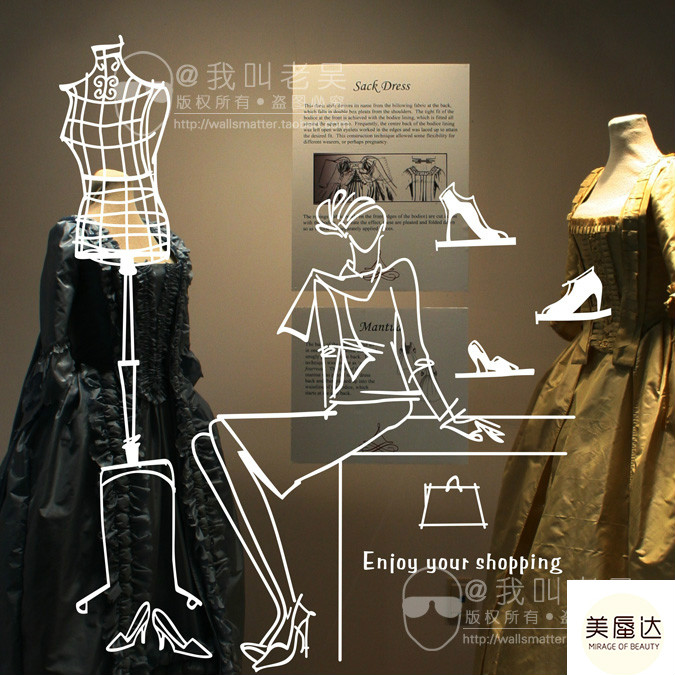 a23d0599150 Hanger model post/shop window design clothing store layout wallpaper/shoe  store decoration glass sticker free shipping