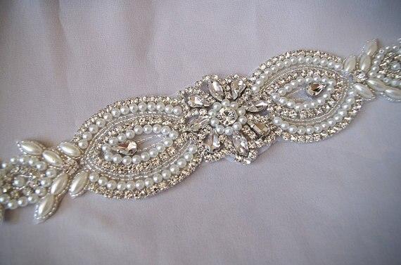 Applique de ceinture de mariée, applique de ceinture de mariée perle et cristal, applique de ceinture de mariée ZP071 1 piec