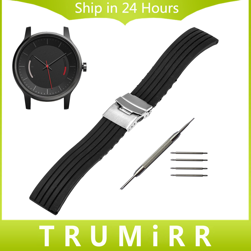 20mm Silicone Rubber Watchband for Garmin Vivomove Watch Band Wrist Bracelet Stainless Steel Safety Buckle Strap Black + Tool 20mm 23mm high quality rubber silicone watchband for armani silicone rubber wrapped stainless steel watch strap for ar5906 5890