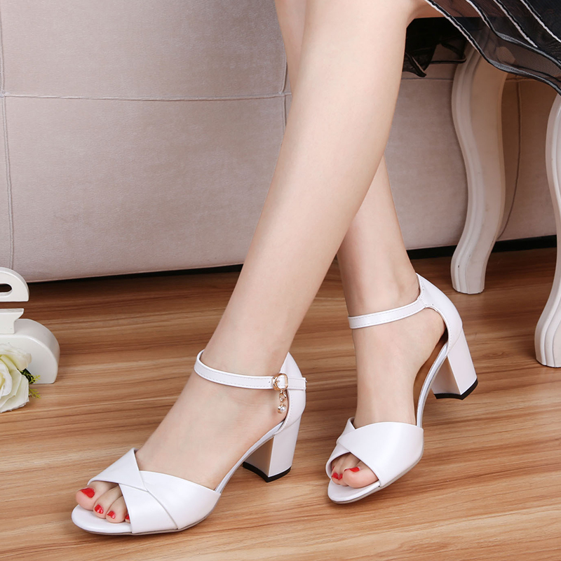 98ed14700b2 Women Shoes 2018 Summer PU Leather High Heels Sandals Fashion Shallow Mouth  shoes Normal Size 35 39 High 5CM Zapatos Mujer-in Middle Heels from Shoes on  ...