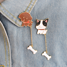 2pcs Cartoon Dog Poodle French Bulldog Bone Chian Brooch Button Pin Coat Jacket Bag Hat Pins